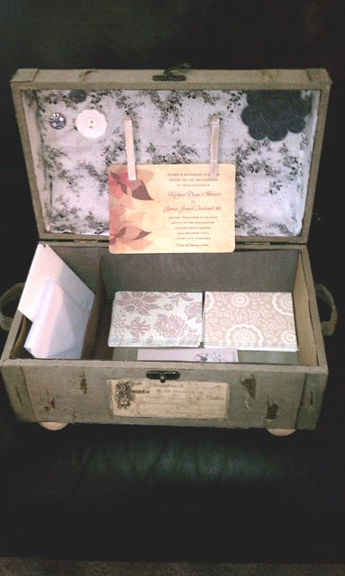 Diy Vintage Luggage Case Stationary Set With Jewel Hair