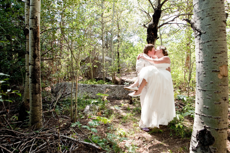 colorado lodge wedding ceremony in the woods same sex
