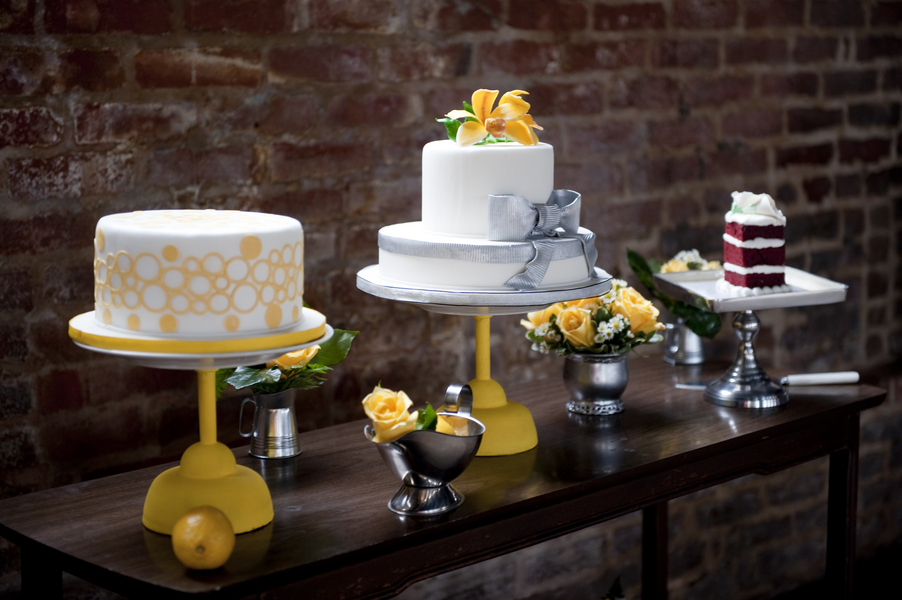 modern industrial wedding details decorations yellow silver blog