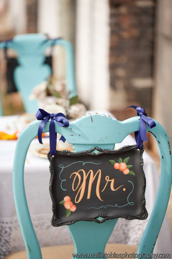Modern, presidential love story themed wedding coral teal blue