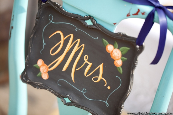 hand painted calligraphy Mrs chairback