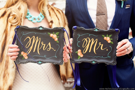 hand painted wedding chairbacks Mr Mrs giveaway