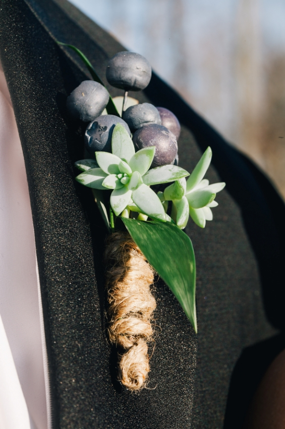 unique boutonniere blueberries eclectic outdoor virginia wedding