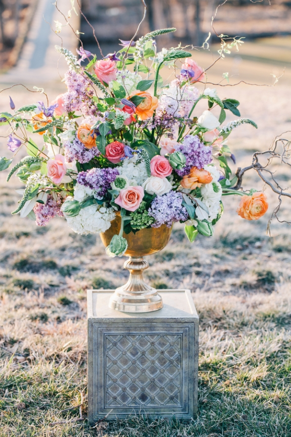 soft purple orange ivory flower arrangements