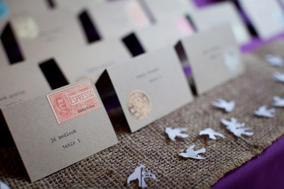 DIY rustic typewriter escort cards pictures