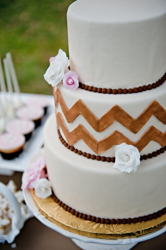 rustic winter wedding chevron wedding cake