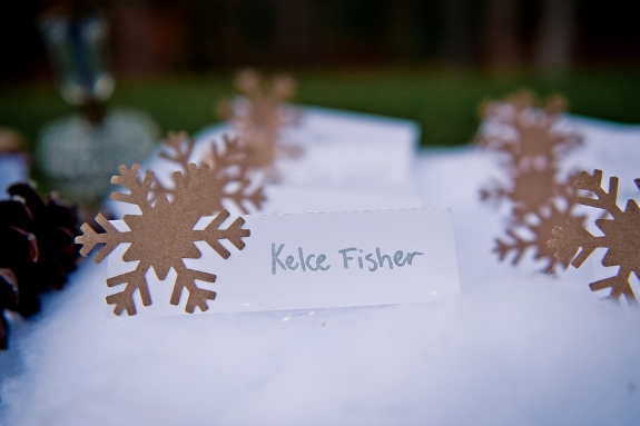 DIY winter wedding snowflake escort cards