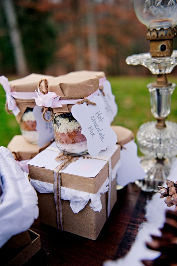 rustic winter wedding favors