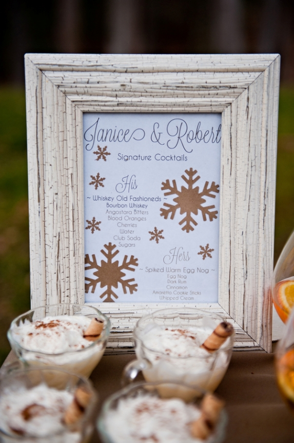 rustic winter wedding details signature drink bar spiked eggnog