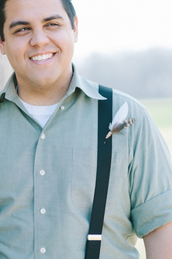 groomsmen bohemian whimsical suspenders feather boutonniere