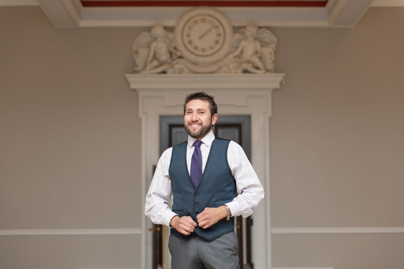 casual hipster groom purple tie grey vest