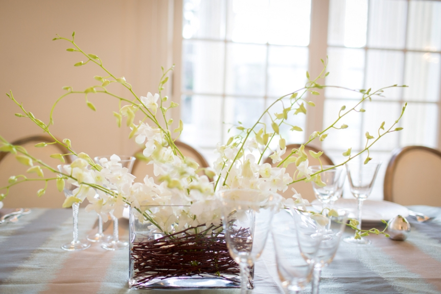 natural branch simple wedding winter centerpieces