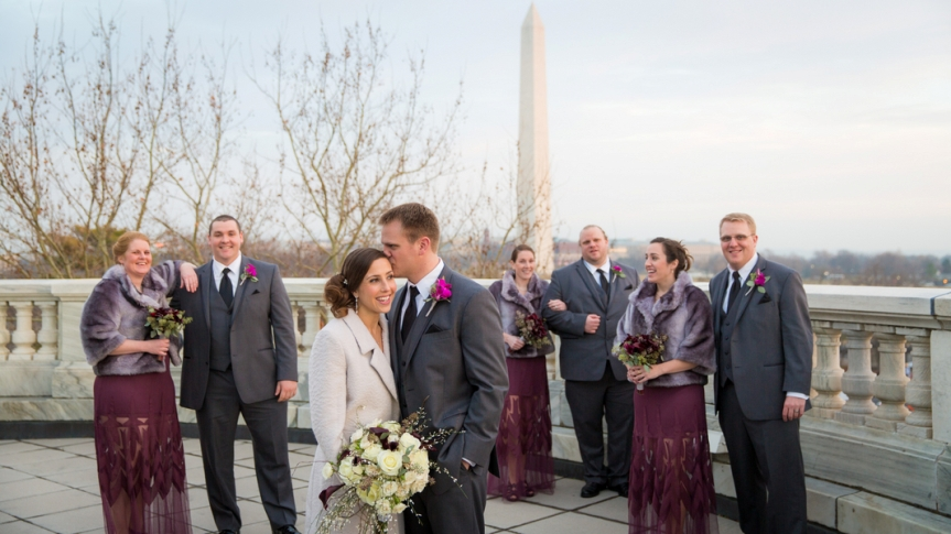 DAR washington dc winter wedding purple intimate