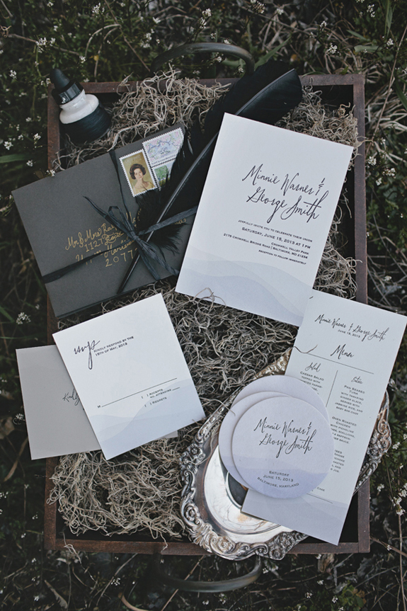 lady of the lake dark modern gothic wedding invitation suite inspiration
