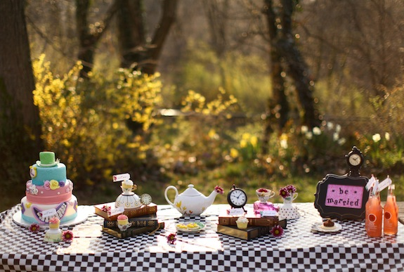 mad hatter's tea party wedding theme inspiration details