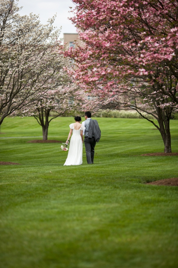 simple cherry blossom themed maryland wedding
