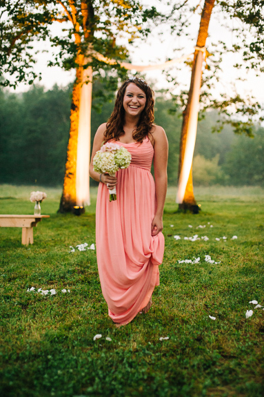 peach bridesmaids dress with floral crown