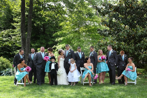 teal bridesmaids hot pink flowers