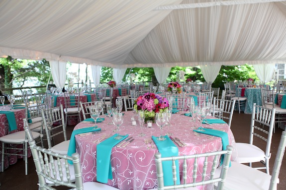 colorful bright spring wedding centerpieces