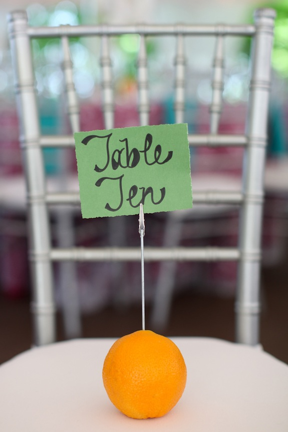 DIY fruit table number holders