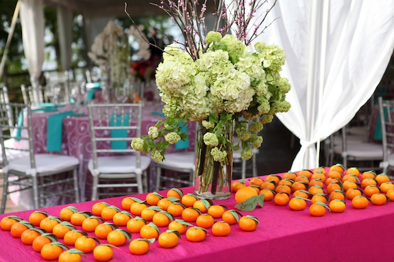 DIY escort card display fruit