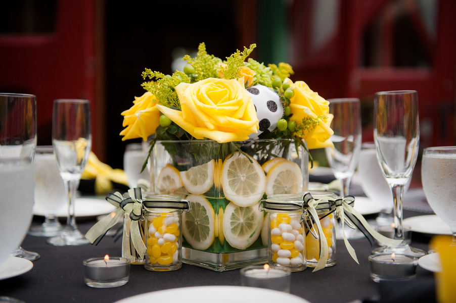 bright yellow lemmons centerpieces