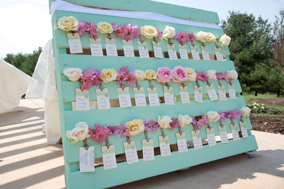 DIY escort card station from wood palette