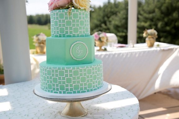 mint yellow gold wedding cake