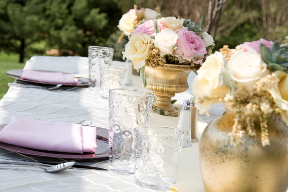 spring mint pink wedding gold centerpieces