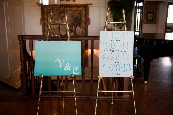 modern teal white wedding posters signs