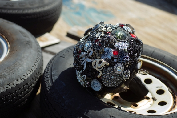 offbeat halloween dark brooch bouquet
