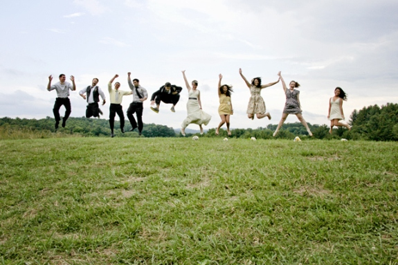 mismatched hipster wedding party