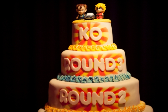 KO offbeat video game themed wedding cake