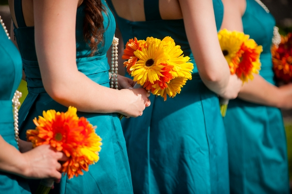 blue bridesmaids gerber daisy bouquets