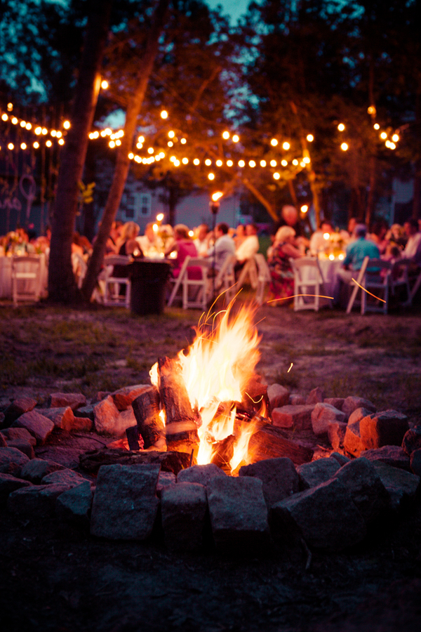 backyard virginia wedding bonfire