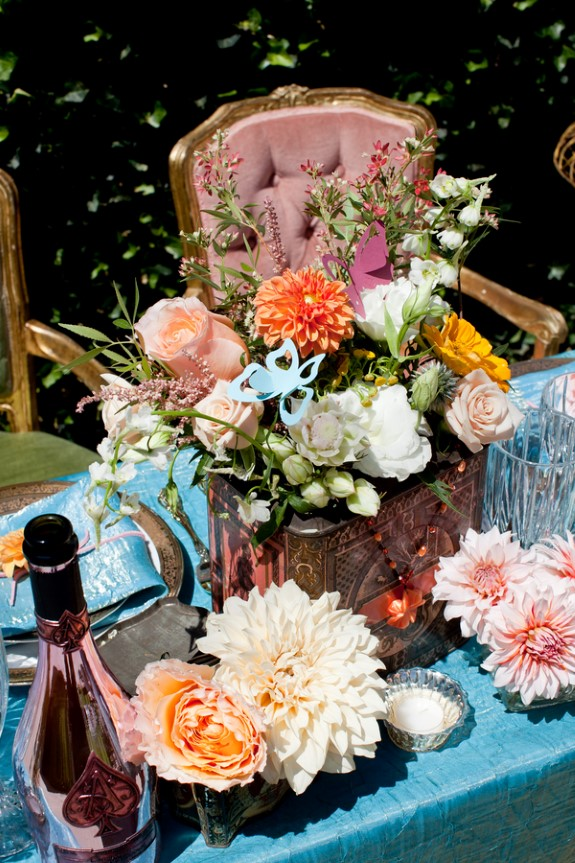 orange blue eclectic wedding flowers
