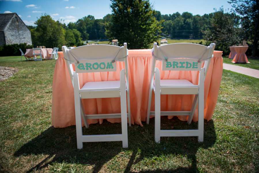 DIY coral teal bride groom signs