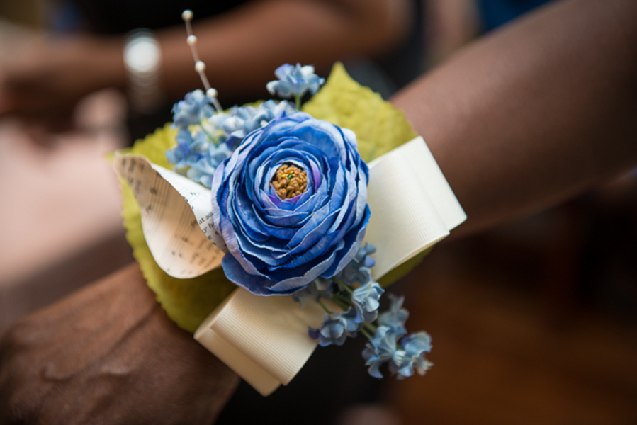DIY paper flower offbeat wedding corsage