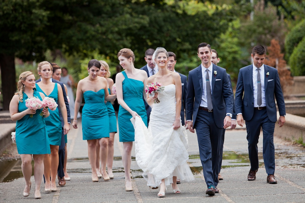 modern dc wedding teal bridesmaids