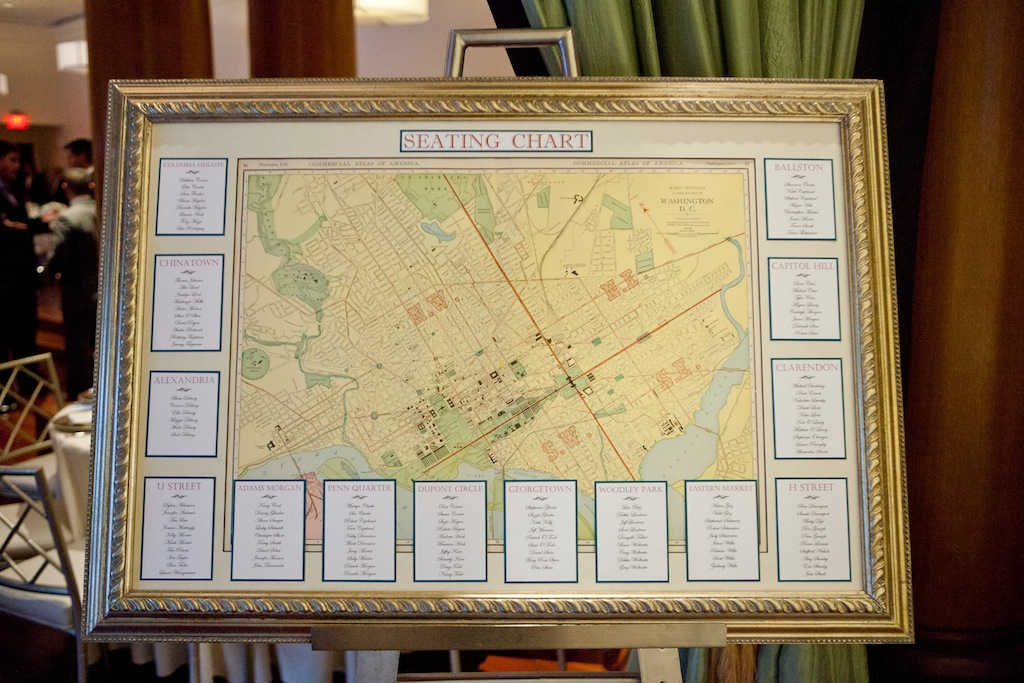 vintage dc map escort card design