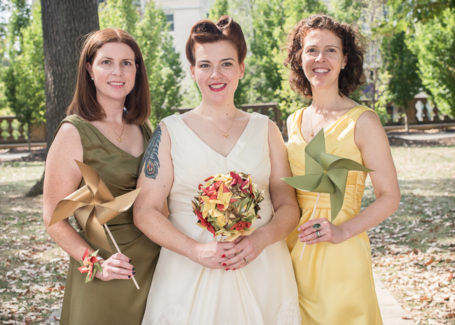 mismatched yellow green bridesmaids