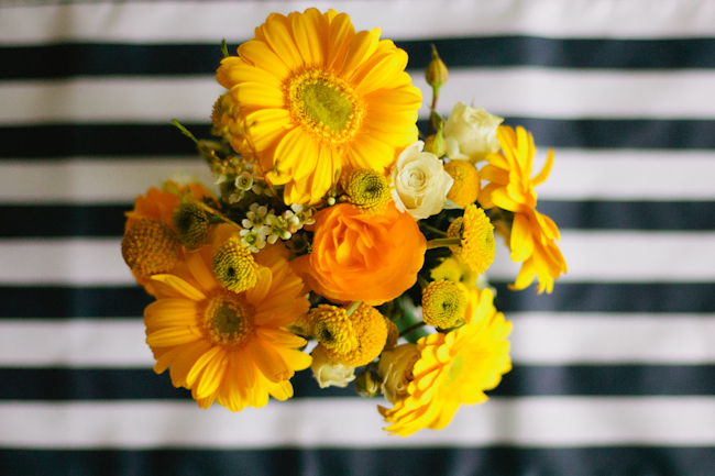 yellow flowers navy striped table runner