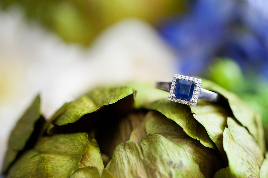offbeat nontraditional blue engagement ring