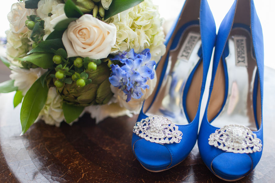 rustic blue brides heels wedding