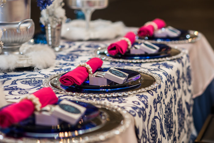 modern glam Jewish pink blue wedding