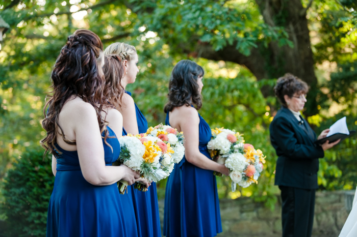 bright blue fall bridesmaids dresses