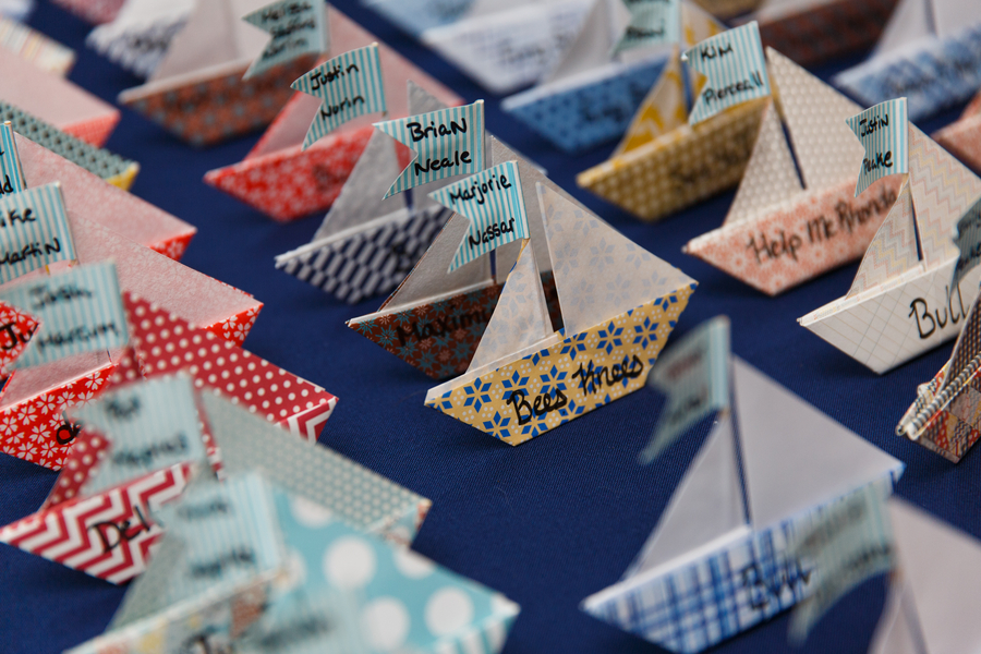 eclectic handmade nautical escort cards