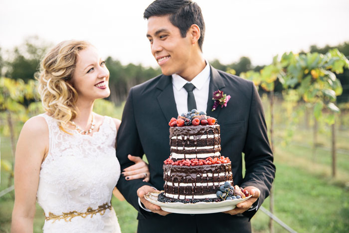 burgundy berry elegant winery wedding cake
