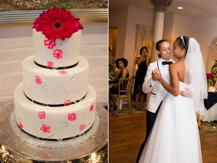 modern black hot pink wedding cake