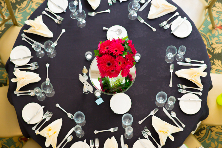 modern black hot pink wedding reception
